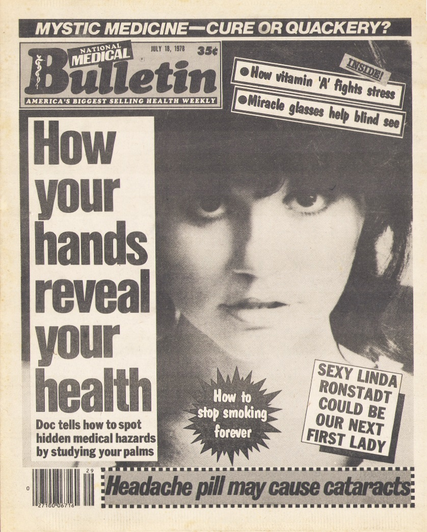 Linda Ronstadt tabloid cover from 1978