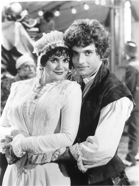 Linda Ronstadt (portraying Mabel) and Rex Smith (playing Frederic) in The Pirates of Penzance in the early '80s