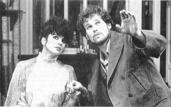 Linda Ronstadt and David Carroll- Caption: Ronstadt and Carroll singing past each other without making contact